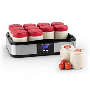 Klarstein-Gaia-Yaourtire-lectrique-12-pots-avec-timer-pour-prparation-de-yaourts-maison-volume-total-25L-pots-de-210mL-cran-LCD-inox-noir-0