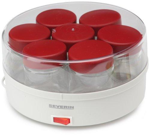 Severin-3519-Yaourtire-13-W-14-pots-150-ml-livre-de-recettes-blanc-rouge-0