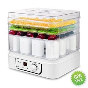 Amzdeal-Dshydrateur-alimentaire-Yaourtire-2-en-1-avec-rglage-de-temprature-et-minuteur-35-70-230W-260W-capacit-de-12-Pots-de-yaourt-et-3-plateaux-de-dshydration-Blanc-0