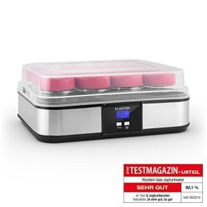 Klarstein-Gaia-yaourtire-lectrique-12-pots-prparation-de-yaourts-maison-fromage-frais-couvercle-hermtique-jusqu-25L-cadre-en-inox-cran-LCD-noir-0