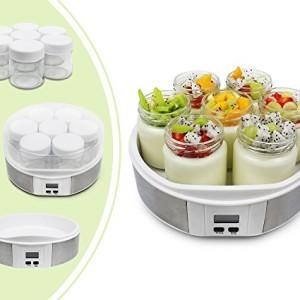 Leogreen-Yaourtire-Machine-pour-Yaourt-Fait-Maison-7-pots-avec-minuteurs-23-x-23-x-12-cm-Blanc-Capacit-par-pot-021-L-0