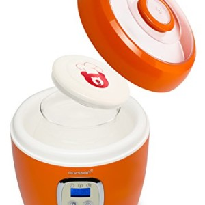 Oursson-FE0205DOR-Yaourtire-Capacit-2-L-2-x-Pots-en-verre-Contrle-digital-Orange-0