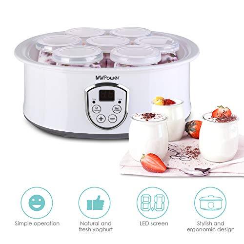 MVPower-Yaourtire-lectrique-Avec-cran-LCDThermostat-Rglable-et-Minuteur7-Pots-Yaourt–Boire-Fromage-Frais-Crme-Dessert-20W-0