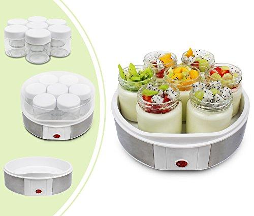 Leogreen-Yaourtire-Machine-pour-Yaourt-Fait-Maison-7-pots-23-x-23-x-12-cm-Blanc-Capacit-par-pot-021-L-0