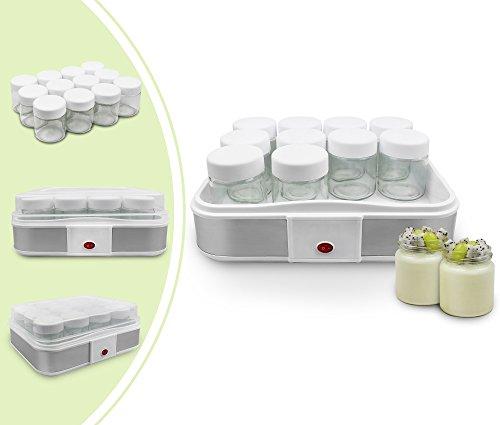 Leogreen-Yaourtire-Machine-pour-Yahourt-Naturel-12-pots-306-x-25-x-124-cm-Blanc-Capacit-par-pot-021-L-0