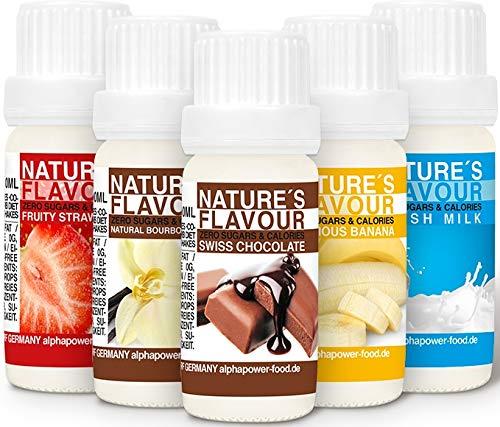 ALPHAPOWER-FOOD-Arme-alimentaire-naturel-SET-SUPER-CONOMIQUE-5x10ml-liquide-gouttes-aromatisantes-et-dulcorant-sans-sucre-got-dlicieux-vegan-liquid-sweetener-Flavour-Drops-Flavdrops-0