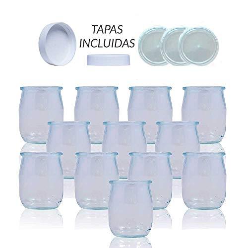 Gobelets-yaourtire-en-verre-avec-couvercle-Pack-de-12-pots-pour-yaourtire-143-ml-bocaux-pour-dessert-Rcipient-pour-moulinex-lidl-Severin-Braum-et-resto-de-yaourtires-143ml-Couvercle-blanc-0