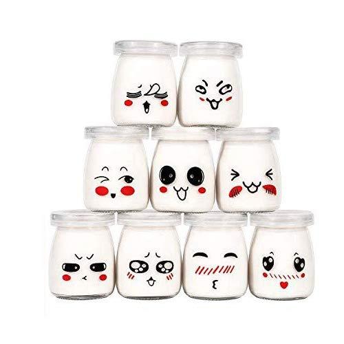 Langlee-Ensemble-de-9-Pots-de-Yaourt-avec-Dcor-moticne-rigolos-et-Couvercles-Crme-Dessert-Jar-Pudding-Glass-Jar-Contenance-100-ML-0