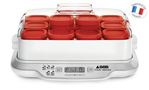 Seb-YG661500-Yaourtire-Multi-Dlices-Express-12-Pots-600W-Yaourt-Fromage-Faisselle-Cuisson-4h-Rouge-et-Blanc-0