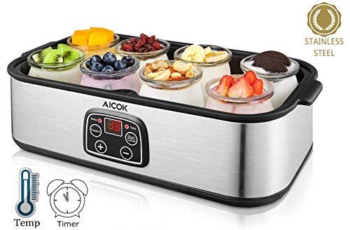 Aicok-Machine–yaourt-lectrique-en-acier-inoxydable-avec-8-bocaux-en-verre-1440-ml-Machine–yaourt-frais-maison-avec-rglage-automatique-de-la-temprature-rglable-affichage-LED-0