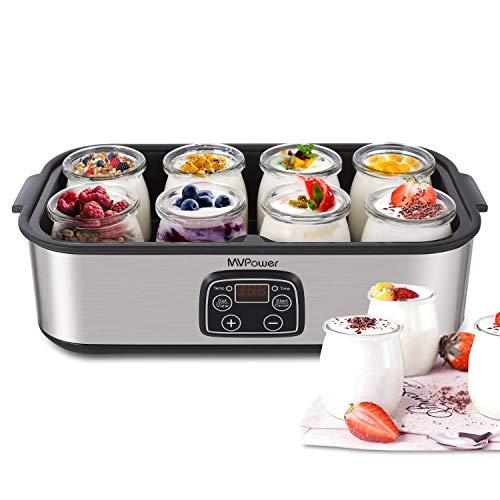 MVPower-Yaourtire-lectrique-Avec-cran-LCDThermostat-Rglable-et-Minuteur8-Pots-Yaourt–Boire-Fromage-Frais-Crme-Dessert-30W-0