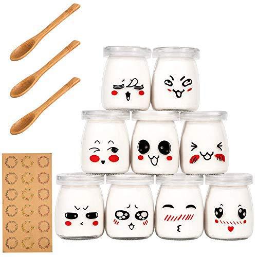 Yangbaga-9-Pot-Yaourt-en-Verre-avec-Couvercles-Dcor-moticne-et-Cuillre-en-Bois-Bocal-Crme-Dessert-Contenance-100-ML–0