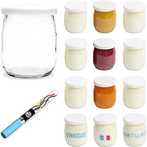 Monboco-lot-de-12-Pots-de-yaourt-en-verre-avec-couvercles-hermtiques-Fabrication-Franaise-pour-yaourtire-robots-cuiseurs-thermomix-cookeo-etc-142-ML-125G-Stylo-effaable-Offert-0