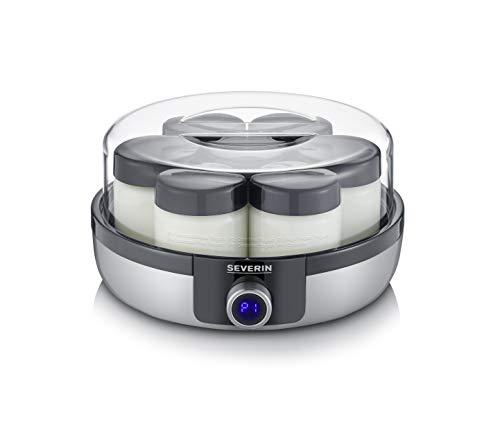 Severin-JG-3521-Yaourtire-avec-cran-numrique–LED-7-bocaux-de-150-ml-sans-BPA-arrt-automatique-5-programmes-automatiques-temprature-et-temps-rglables-Yaourt-vgane-sans-lactose-0